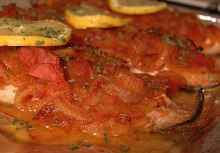 Mackerel in wine and tomato sauce